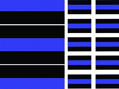 Reflective Thin Blue Line Decals 3 Pack, 5″ x 3″ & License Plate Stickers 10 Pack, 1.5″ x 1″ Decals for Cars & Trucks, Honoring Police Law Enforcement