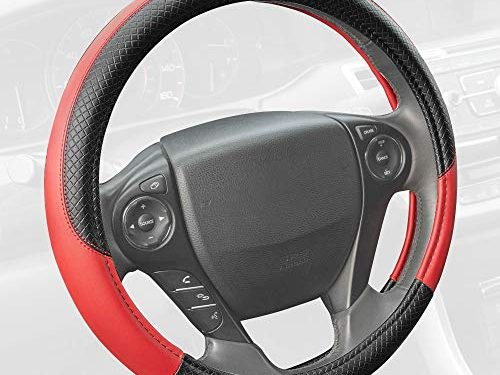 Motor Trend SW-807-RD Red Synthetic Leather Steering Wheel Cover-Cross Diamond Stitching-Two Tone Sport Grip