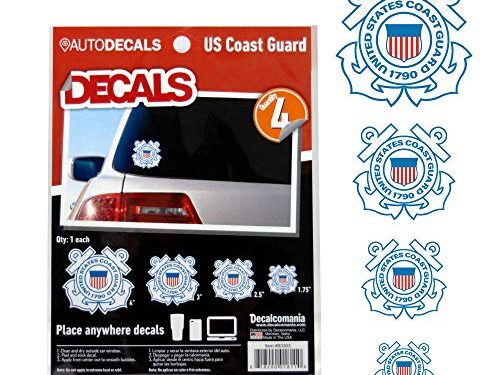 4 Piece US Military Stickers For Truck or Car Windows, Phones, Tablets & Laptops – Large Military Decals 1.75 to 4 Inches – Car Decals Military Collection – OFFICIALLY LICENSED U.S. COAST GUARD DECALS