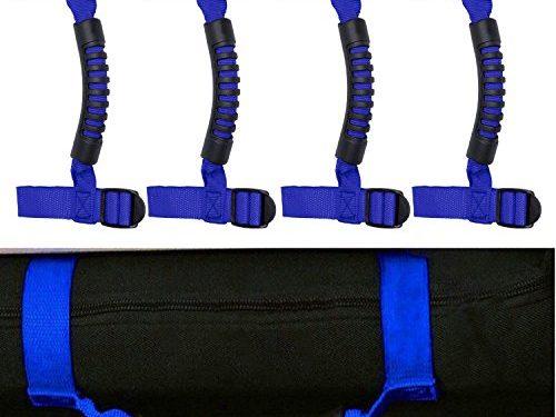 4 x Roll Bar Grab Handles Grip Handle for Jeep Wrangler YJ TJ JK JK JL JLU Sports Sahara Freedom Rubicon X & Unlimited 1955-2018 Roll Bar Blue
