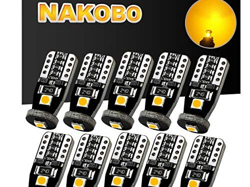 NAKOBO T10 194 168 175 2825 12961 W5W Error Free Non Polarity LED Interior Car Bulb 3SMD 3030 Chipset for Car Interior Dome Map Door Courtesy License Plate 6000K Amber Yellow pack of 10