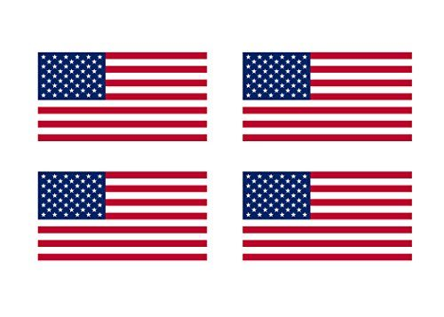 """Support US Military 4x Original – Industrial Strength Vinyl Decal For Cars, Trucks, RV, SUV's & Boats – 4 Pack American Flag Patriotic Stars and Stripes Auto Decal Bumper Sticker 5×3"""""""