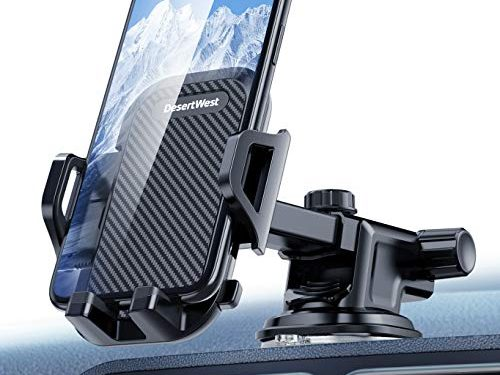 DesertWest Cell Phone Holder for Car,Dashboard Car Phone Mount Compatible with iPhone XR Xs Max Xs X 8 7 6 Plus, Galaxy S10 S10+ S10e S9 S8 S7 LG Google etc.