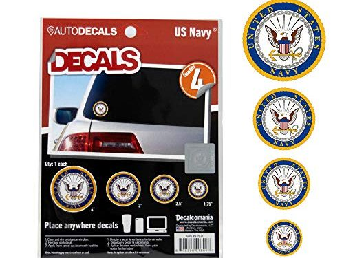 4 Piece US Military Stickers for Truck or Car Windows, Phones, Tablets & Laptops – Large Military Decals 1.75 to 4 Inches – Car Decals Military Collection – Officially Licensed U.S. Navy Decals