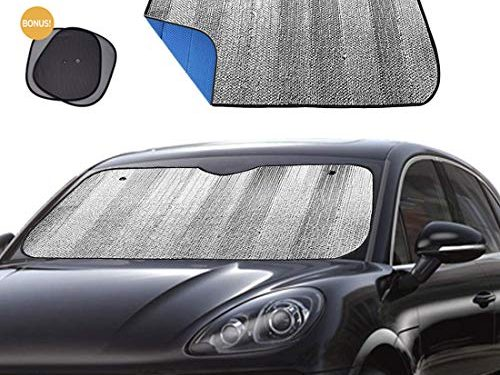 Big Ant Windshield Sun Shade Car Window Sunshade as Bonus,Protect Your Car from Sun Heat & Glare Best Foldable UV Ray Visor Protector Visor Shield Cover Keeps Vehicle Cool-BlueSize 55″ x 27.5″