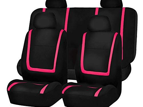 FH Group FB032PINK114 Pink Unique Flat Cloth Car Seat Cover w. 4 Detachable Headrests and Solid Bench