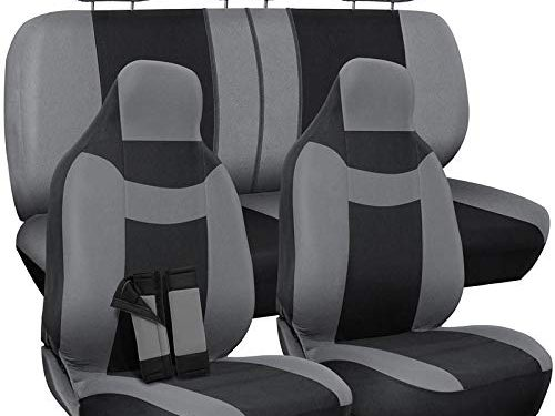 Full Set – Motorup America Gray/Black Auto Seat Cover – Fits Select Vehicles Car Truck Van SUV