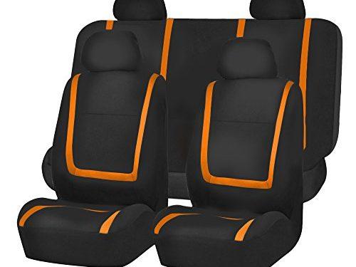 FH Group FB032ORANGE114 Orange Unique Flat Cloth Car Seat Cover w. 4 Detachable Headrests and Solid Bench