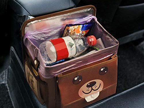 Car Trash Bag Hanging for Headrest with Strap – Automotive Waste Storage – Car Garbage Can with Storage Pockets – Garbage Bag Organizer