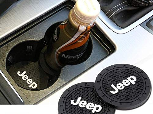 Auto sport 2.75 Inch Diameter Oval Tough Car Logo Vehicle Travel Auto Cup Holder Insert Coaster Can 2 Pcs Pack Jeep