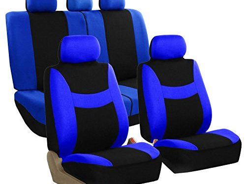 FH Group FB030BLUEBLACK115 full seat cover Side Airbag Compatible with Split Bench Blue/Black