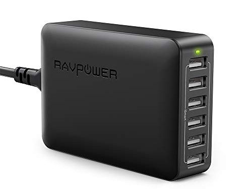 USB Charger RAVPower 60W 12A 6-Port Desktop USB Charging Station with iSmart Multiple Port, Compatible iPhone XS Max XR X 8 7 Plus, iPad Pro Air Mini, Galaxy S9 S8 S7 Edge, Tablet and More Black