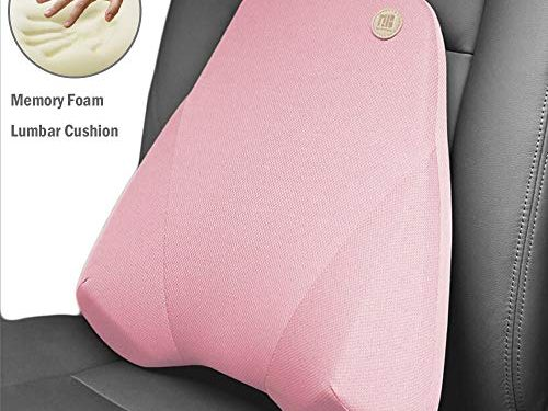 QBUC Car Back Support, Car Lumbar Pillow for Back/Spine/Coccyx Pain Relief, Memory Foam Lumbar Support Pillow – Comfort Back Cushion for Car seat, Office Chairs, Travel and Home Pink