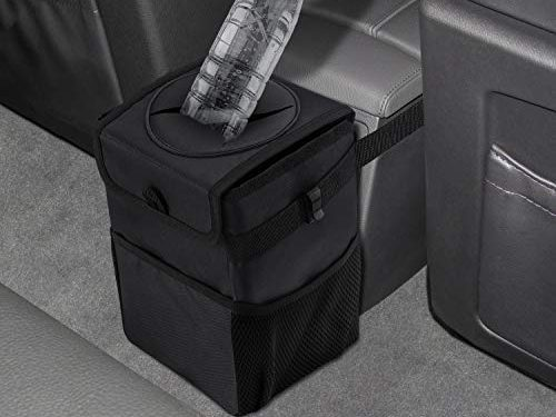 AEOSBIK Car Trash Can with Lid and Storage Pockets, Collapsible Car Accessories Organizer for Back Seat, Car Trash Bag 100% Waterproof and Leak-Proof