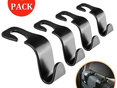 VTECHOLOGY Car Seat Headrest Hooks 4 Pack Backseat Headrest Hangers Storage for Bags, Purses, Grocery Bags, Coats and Clothes