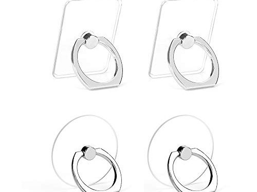 Earea Cell Phone Ring Holder, Transparent Phone Ring Holder 360°Rotation Finger Ring Stand Phone Ring Grip for iPhone X/8/8 Plus, Galaxy S9/S9 Plus and Almost All Phones4 Silver