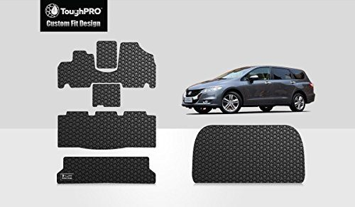 Black Rubber – All Weather – 2005, 2006, 2007, 2008, 2009, 2010 – Made in USA – Heavy Duty – ToughPRO Floor Mats 1st + 2nd + 3rd Row + Cargo Mat Compatible with Honda Odyssey