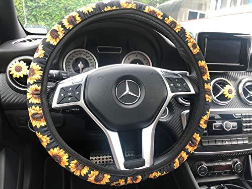Zadin Sunflower Steering Wheel Cover   Cute and Fashionable Sunflower Steering Wheel Cover, Universal Steering Wheel Cover, Sunflower car Accessories Sunflower
