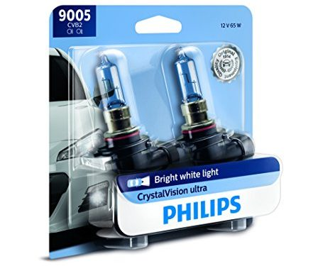 Philips 9005 CrystalVision Ultra Upgrade Bright White Headlight Bulb, 2 Pack