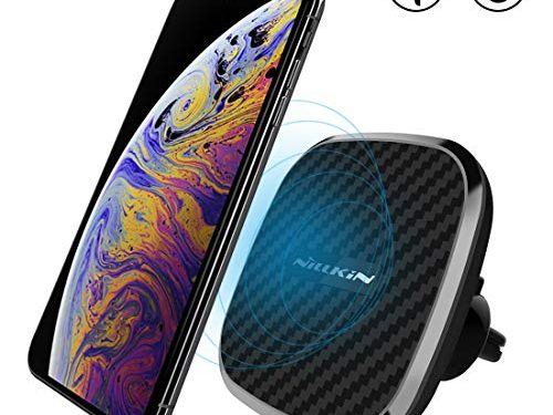 Nillkin Wireless Car Charger, 10W Fast Charge Qi Magnetic Car Air Vent Mount Compatible with Samsung Note 9/8/S9/S8 Plus, Fast Charging 7.5W for iPhone Xs MAX/XS/XR/X/8 Plus-Model B
