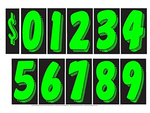 7 1/2 Vinyl Number Decals 11 Dozen Car Lot Windshield Pricing Stickers 7 1/2 inch, Chartreuse