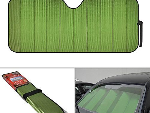Motor Trend Front Windshield Sun shade – Accordion Folding Auto Sunshade for Car Truck SUV 58 x 24 Inch Green