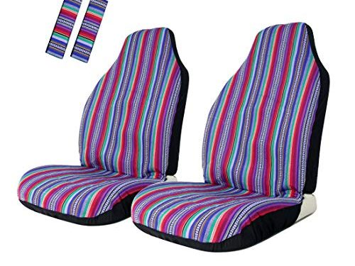 Copap Seat Covers Universal for Front Seat Baja Stripe Colorful Bucket Covers for Car, SUV & Truck 2 seat Covers+2 seat Belt Covers