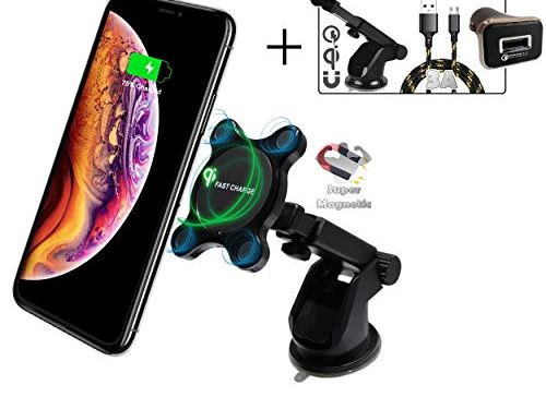 Magnetic Wireless Car Charger, 2BConnect Premium Strong Mount Qi Fast Charging Car Kit Includes CQ3.0 Adapter, 3Amp Cable, 10W Fast Wireless Charging: iPhone Xs Max/XR/X/8/8+ Samsung S10/S9/S8/Note 8