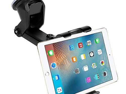 Car Dashboard Windshield Tablet Mount, 7″-10.5″ Tablet Holder, 4.5″-6.5″ Phone Mount, Compatible iPad Pro 10.5/Air/Mini/iPhone Xs/XS MAX/XR/X/8/8Plus/7/7Plus, Galaxy S7/S8/S9, Huawei etc Black