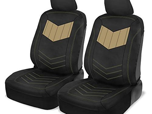 Motor Trend MTSC304 Beige ComfortPlush PU Leather All Protection Sideless Seat Covers for Car Auto Sedan Truck SUV Minivan – Front 2pc
