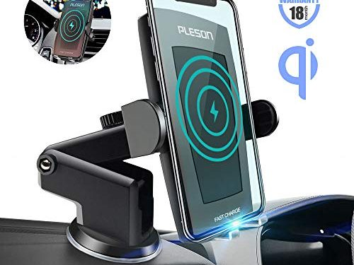 Pleson Wireless Car Charger Mount, Auto-Clamp 10W/7.5W Qi Fast Charging Windshield Dashboard & Vent Car Phone Holder for Galaxy S10/S10+/S9/S9+/S8/S8+/Note 9/Note 8, iPhone Xs/Xs Max/XR/X/8/8 Plus