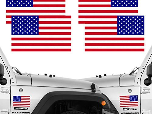 Reflective Full Color American Flag Stickers 2 Pairs Bundle 3″ X 5″ Tactical Military Flag Reverse USA Decal for Jeep, Ford, Chevy or Hard Hat, Car Vinyl Window Bumper Decal Sticker B