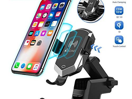 Wireless Car Charger Mount, 10MM Max Inductive Distance Case Friendly Manual Automatic Clamping 10W/7.5W Fast Charging Phone Holder Compatible iPhone Xs/XR/X/8, Samsung Galaxy S10/S9/S8