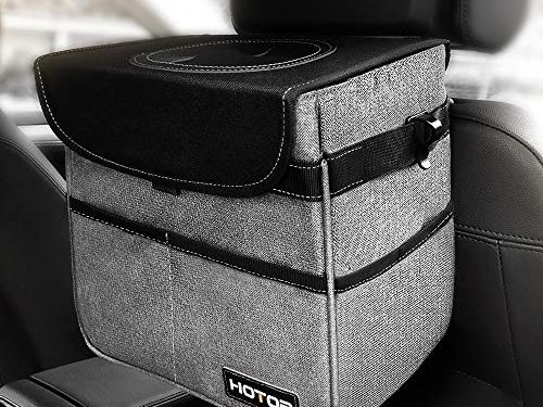HOTOR Car Trash Can with Lid and Storage Pockets, 100% Leak-Proof Car Organizer, Waterproof Car Garbage Can, Multipurpose Trash Bin for Car – Gray