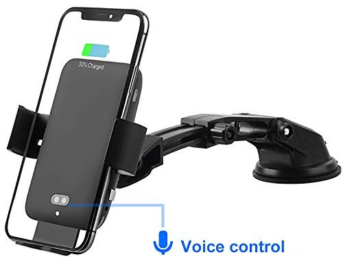 TIMESS 10W Wireless Car Charger Mount,Intelligent Voice Control Infrared Auto Clamping with Dashboard Air Vent Phone Holder Compatible for iPhone XR/XS Max/Huawei for Samsung S10 S9 S8