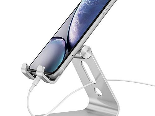 Cell Phone Stand, OMOTON Adjustable Aluminum Desktop Cellphone Tablet Stand Holder Cellphones, iPhone E-Readers, Silver