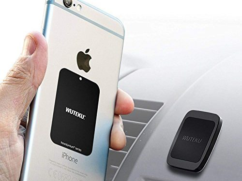Compatible with iPhone XR XS X 8 7 Plus and Galaxy S10 S9 S8 by Pro Driver – WUTEKU Flat Magnetic Cell Phone Holder Kit for Car – Works on All Vehicles, Phones and Tablets