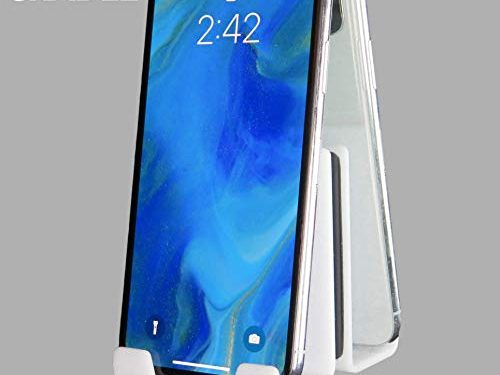 AIRSTIK Cradle for Any Phone Tablet Pad Holder Selfie Caddy Mount Shelf Bathroom Shower Glass Mirror Window Wall Universal Reusable Waterproof Compatible with Any iPhone or iPad Made in USA White