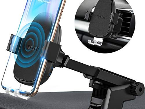 BEBEN Wireless Car Charger Mount, Automatic Clamping Windshield Dashboard Air Vent Phone Holder, Qi Fast Charging Compatible with iPhone Xs Max XR X 8 8+, Samsung and LG Charger Adapter not Include
