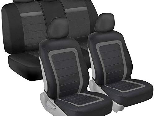 BDK All Protect Full Set Seat Covers Front & Rear Coverage with Fresh Two-Tone Charcoal Honeycomb Design for Car Auto Sedans SUVs Trucks Vans