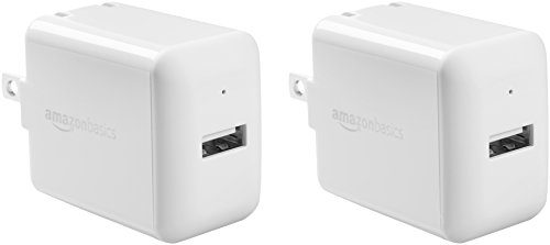 AmazonBasics One-Port USB Wall Charger for Phone, iPad, and Tablet, 2.4 Amp, White, 2 Pack