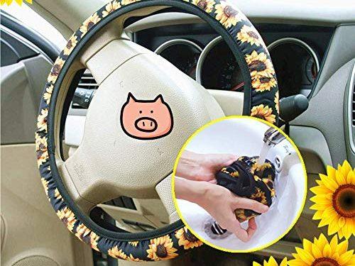 New! Handmade Sunflower Steering Wheel Cover,Safe Non Slip Neoprene Material Stretch-on Fabric Steering Wheel Cover Universal Fit