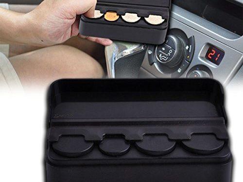 Zento Deals Sturdy Black Coin Organizer-Auto Car Coin Case Storage Mini Box Plastic Holder