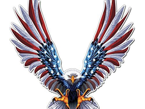 6″ x 6.75″ Inch American Flag Decal 1 Pack – Bald Eagle American Flag Sticker/Decal