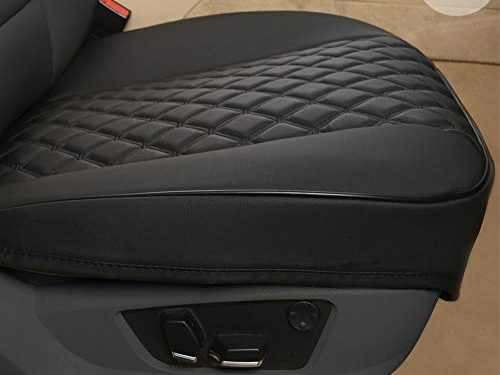 """Black Panther PU Car Seat Covers,Universal Front Auto Seat Protector,Embroidery,Anti-Slip & Full Wrapping Edge W 21.26""""D 20.87″2Pieces,Black"""