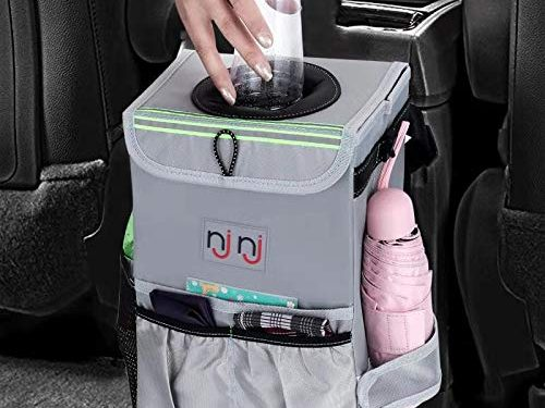 NJNJ Car Trash Can Garbage Bin, Waterproof 13.5″ x 10″ x 8″ Backseat Trash Receptacle Storage Container for Car – Big XL Leak Proof Odor Lock Foldable Hanging Box Organizer with Pockets
