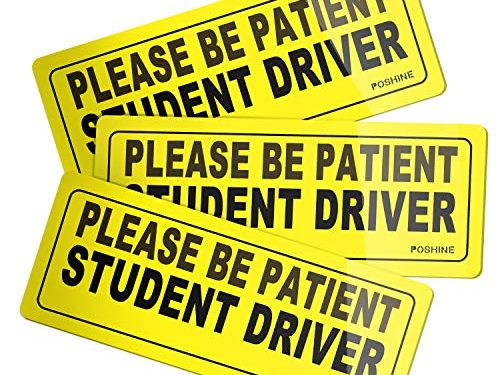 Reflective Vehicle Car Sign Bumper Sticker for New Driver Set of 3 – POSHINE Student Driver Magnet Car Signs