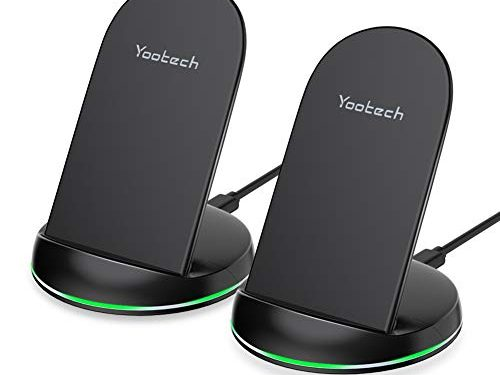 Yootech 2 Pack Wireless Charger Qi-Certified 7.5W Wireless Charging Stand Compatible with iPhone Xs MAX/XR/XS/X/8/8 Plus,10W for Galaxy S10/S10 Plus/S10E/S9,5W All Qi-Enabled Phones No AC Adapter
