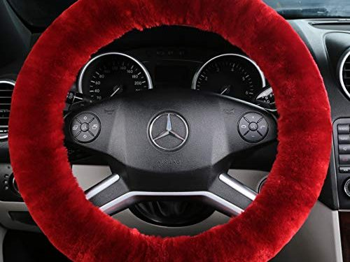 ANDALUS Car Steering Wheel Cover, Fluffy Pure Australia Sheepskin Wool, Universal 15 inch Dark Red