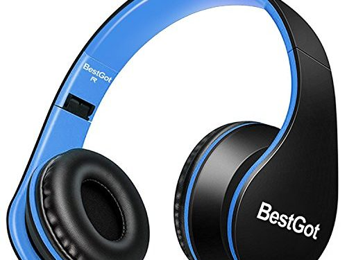 BestGot Wired Kids Headphones for Kids Boys Adult with Microphone in-line Volume Included Cloth Bag Foldable Headset with 3.5mm Plug Removable Cord Black/Blue